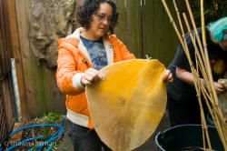 Shawn checks out the Moose rawhide head for her new hoop drum