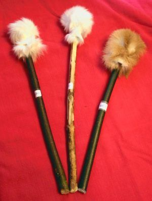 Rabbit Fur Hoop Drum Beaters