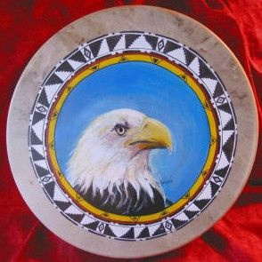 Willie Two Hawk Painted Drums